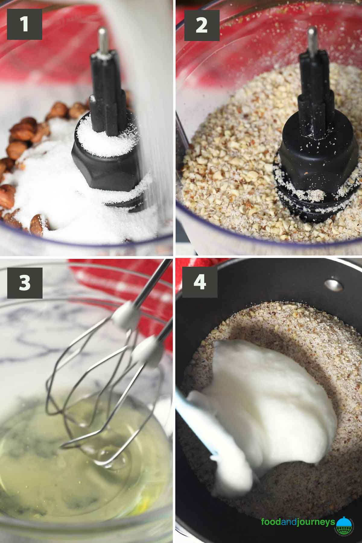 First part of a collage of images showing the step by step process on how to make hazelnut meringue cookies.