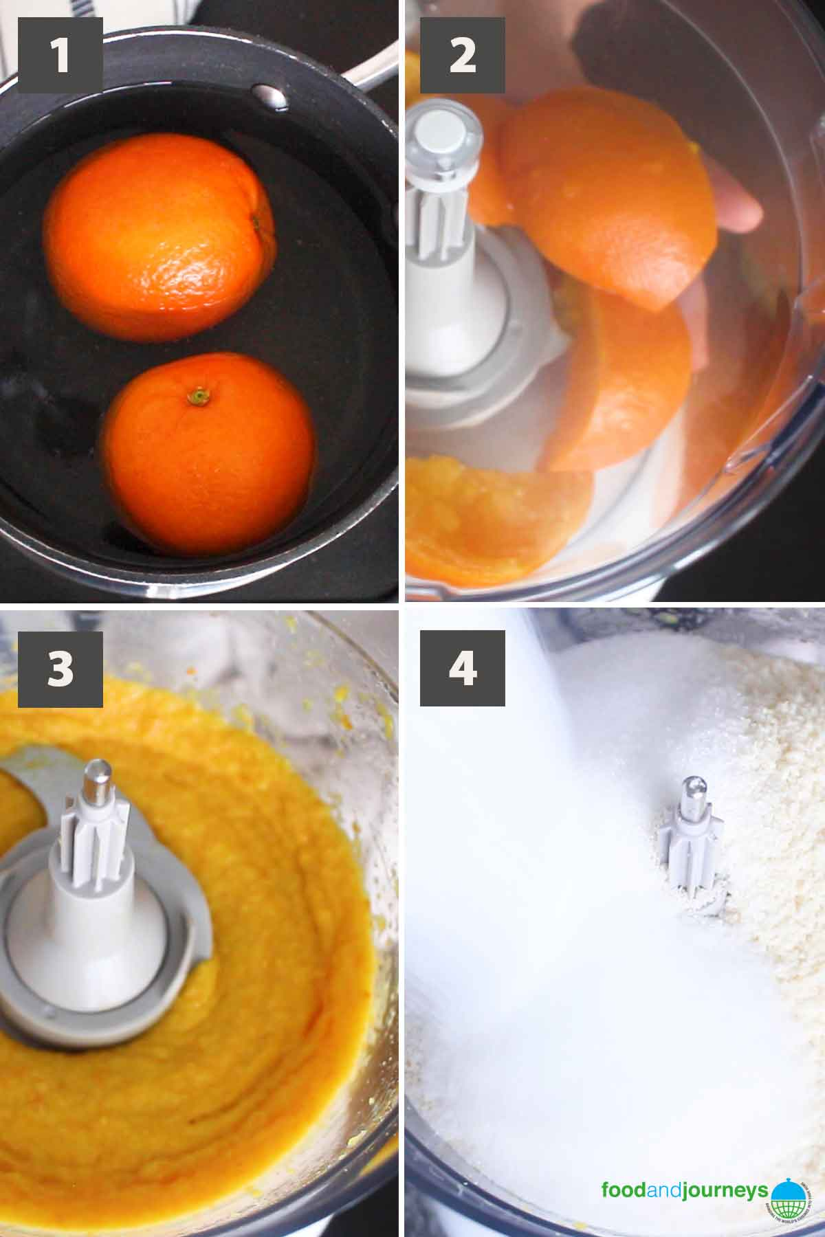 Updated first part of a collage of images showing the step by step process on how to prepare French Orange and Almond Flourless Cake.