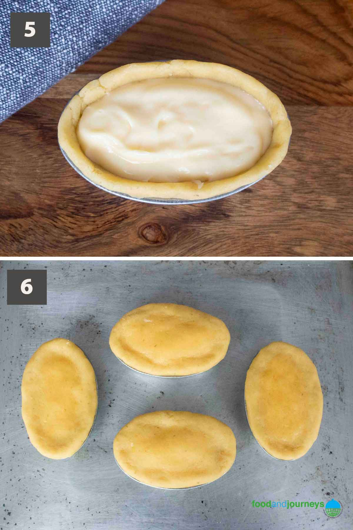 Updated second part of a collage of images showing the step by step process of making pasticciotto at home.