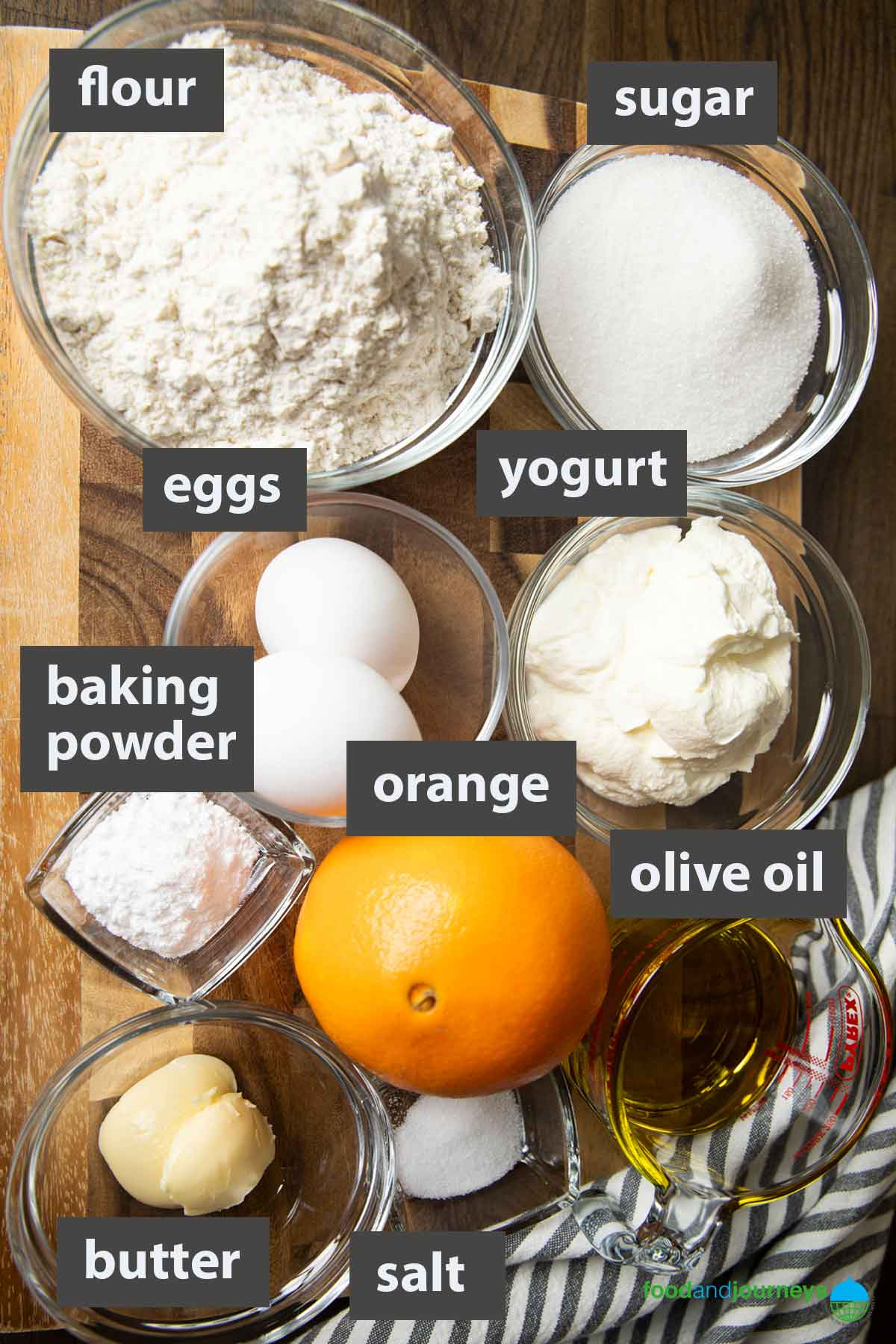 Updated image showing all the ingredients needed to make French Yogurt Cake at home.