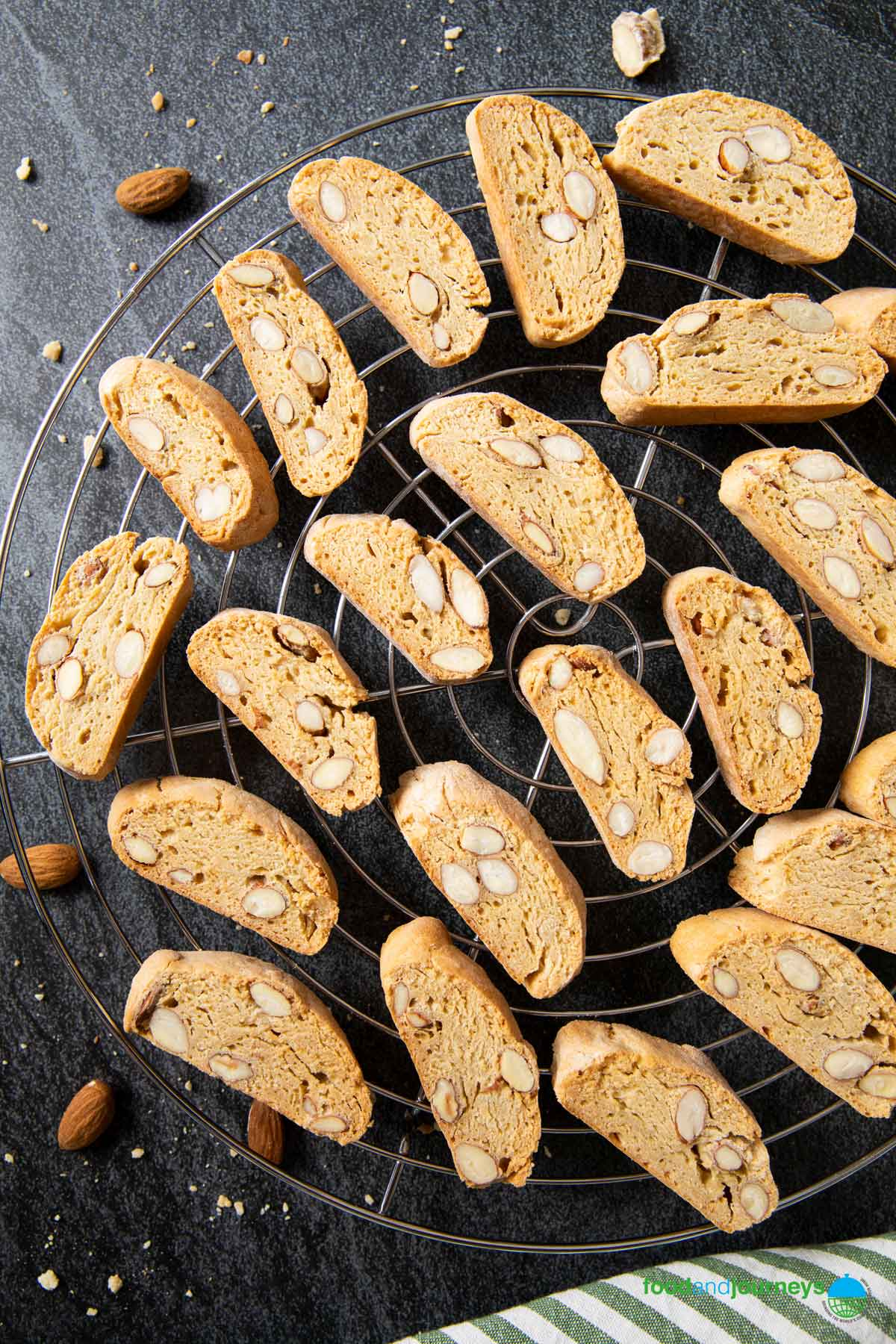 An overhead shot of cantucci on a cooling rack.