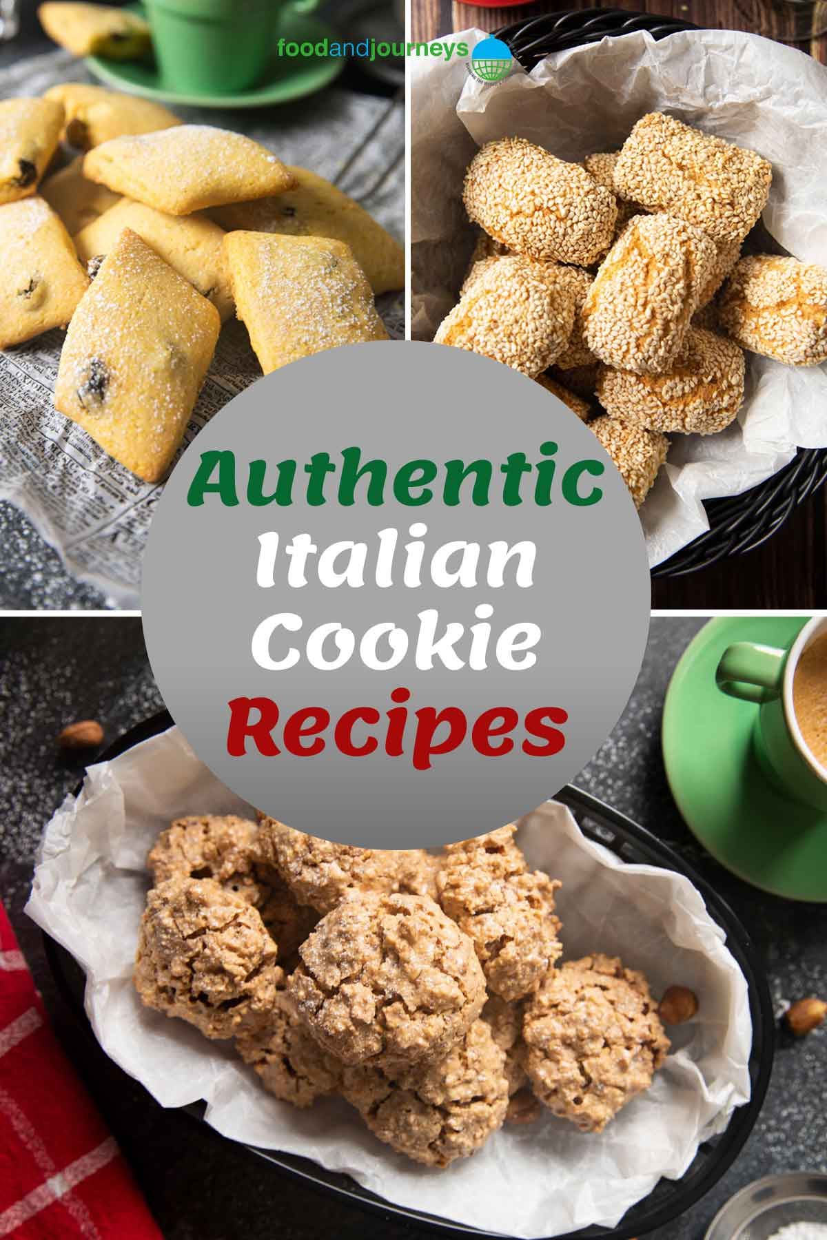A collage of images showing authentic Italian cookies.
