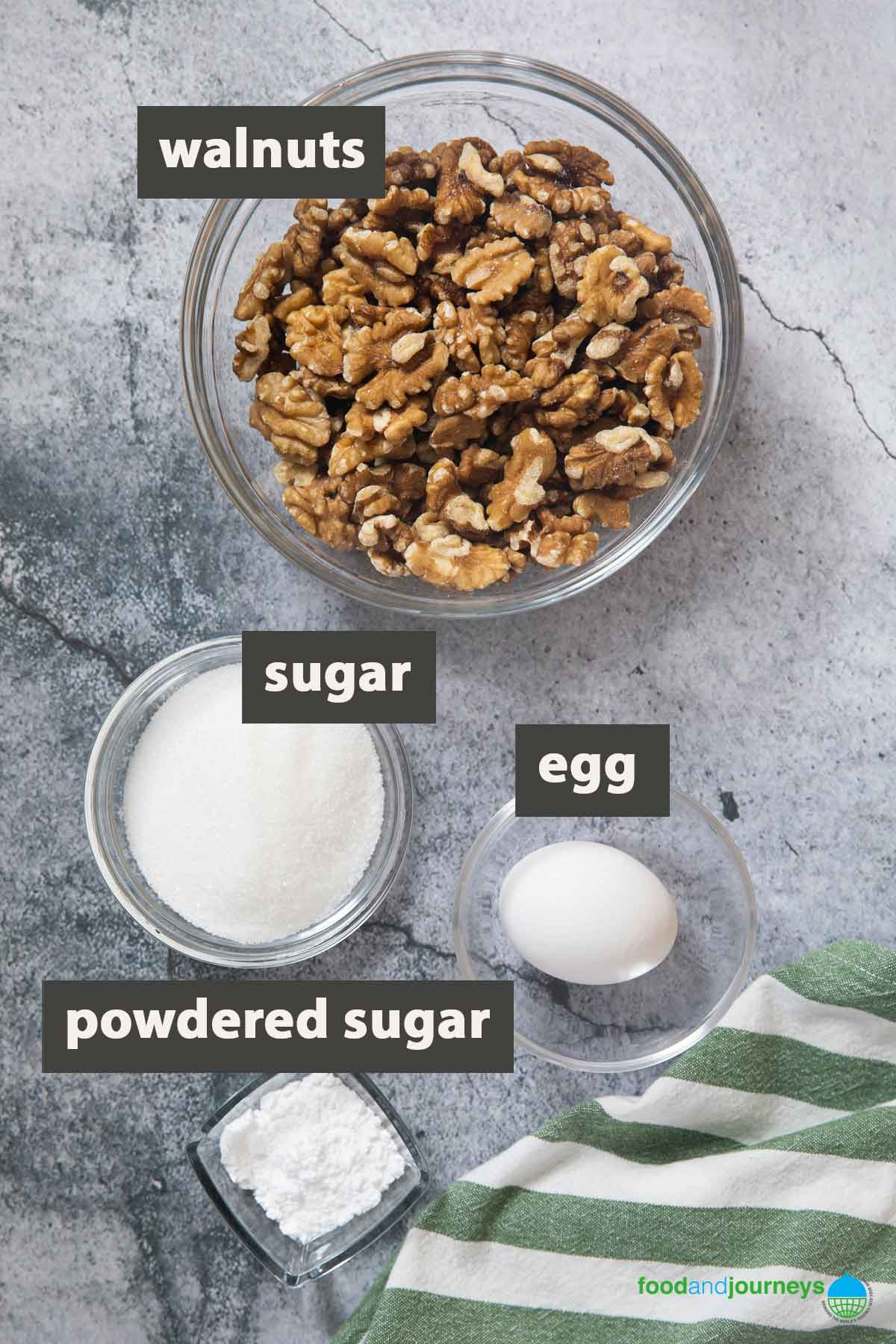 An image showing all the ingredients you need to make dolci di noci at home.