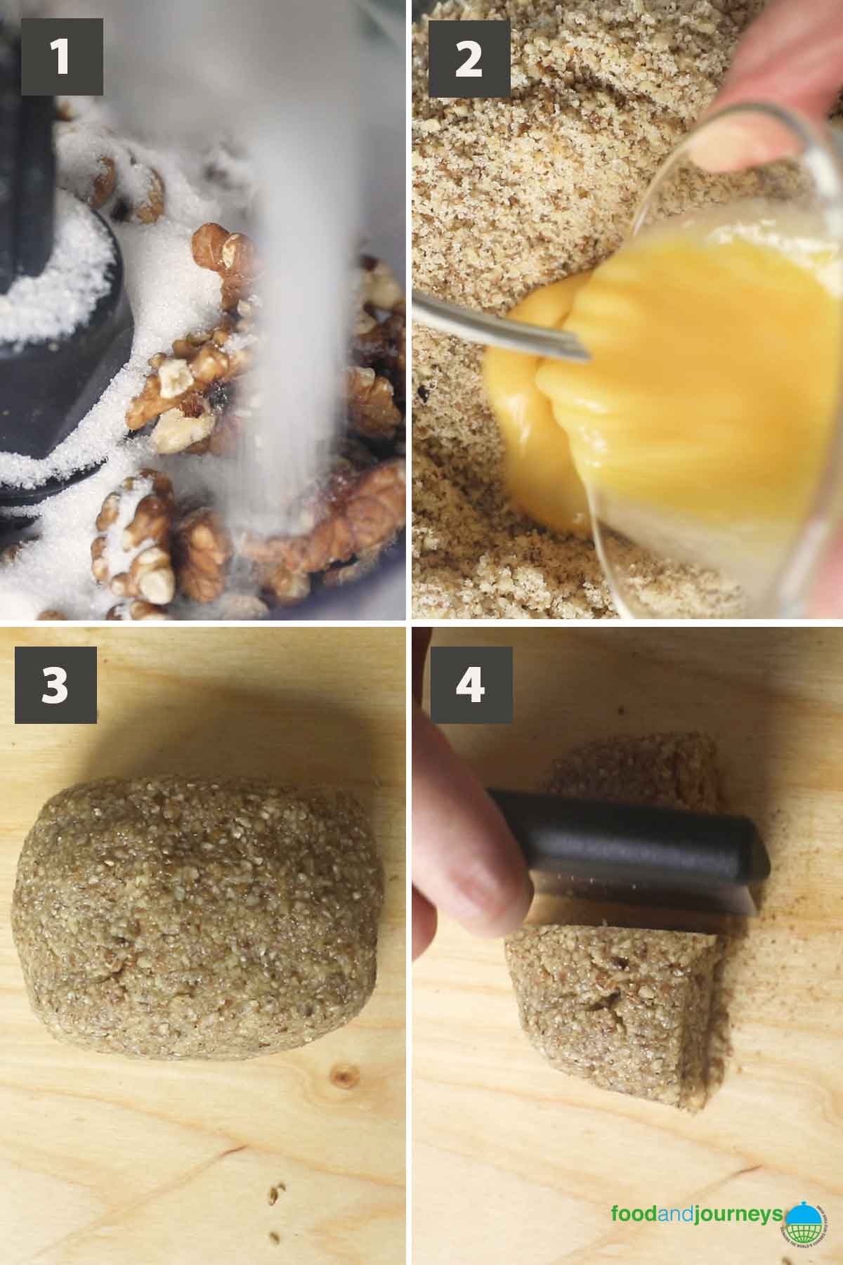 First part of a collage of images showing the step by step process on how to make ground walnut cookies.