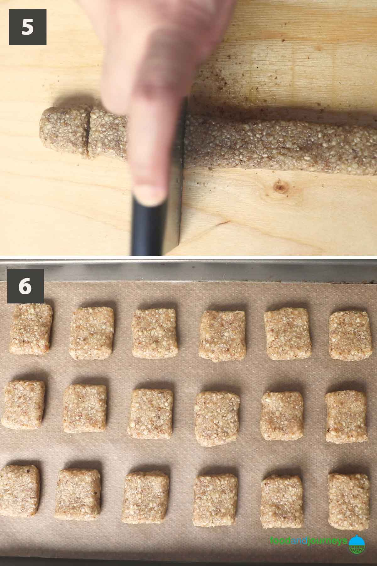 Second part of a collage of images showing the step by step process on how to make Italian walnut cookies at home.