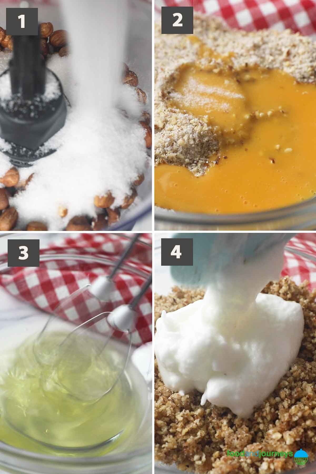 First part of a collage of images showing the step by step process on how to make Torta di Nocciole.
