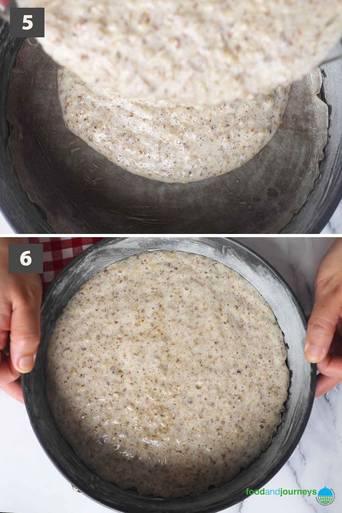 Second part of a collage of images showing the step by step process on how to prepare hazelnut cake at home.