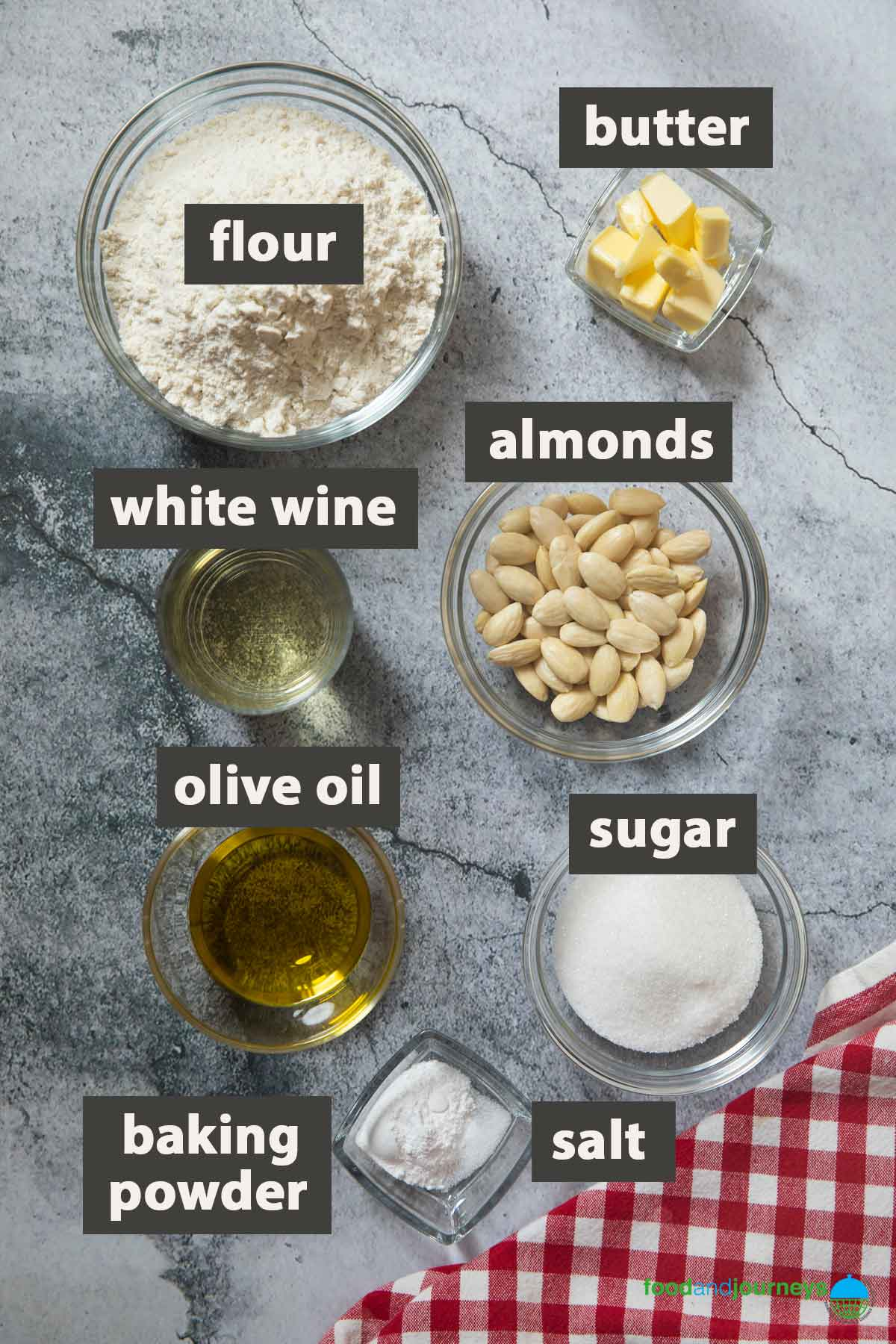 An image showing all the ingredients you need to prepare almond cookie twists.