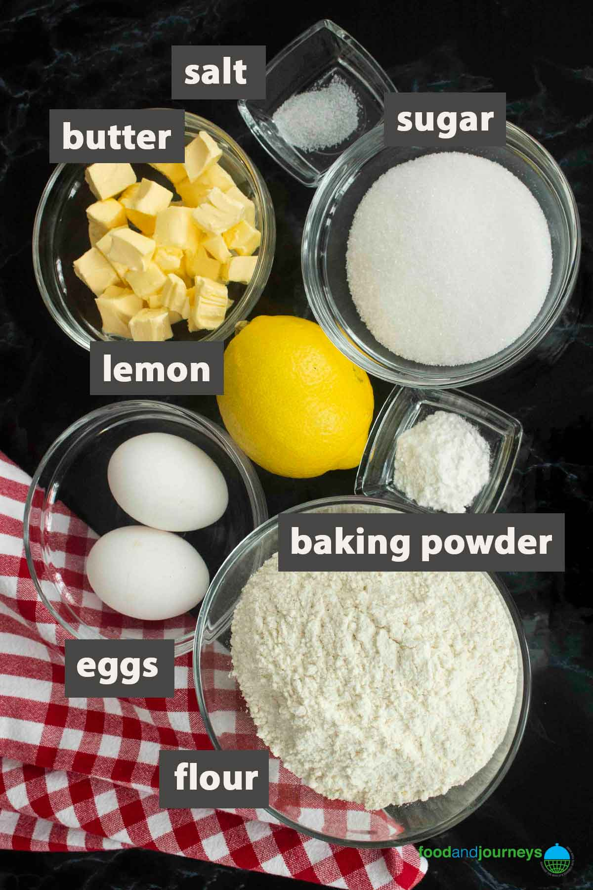 An image showing all the ingredients you need to prepare pasta frolla.
