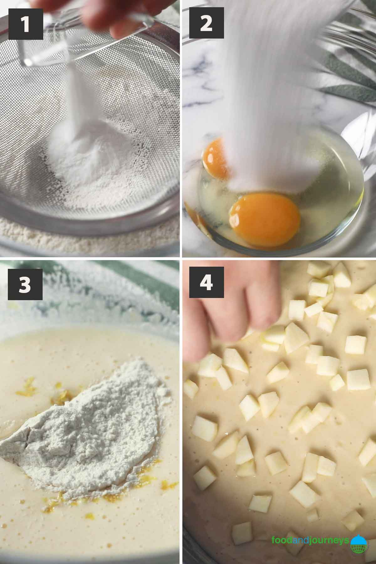 Updated first part of a collage of images showing the step by step process on how to make rustic apple cake.