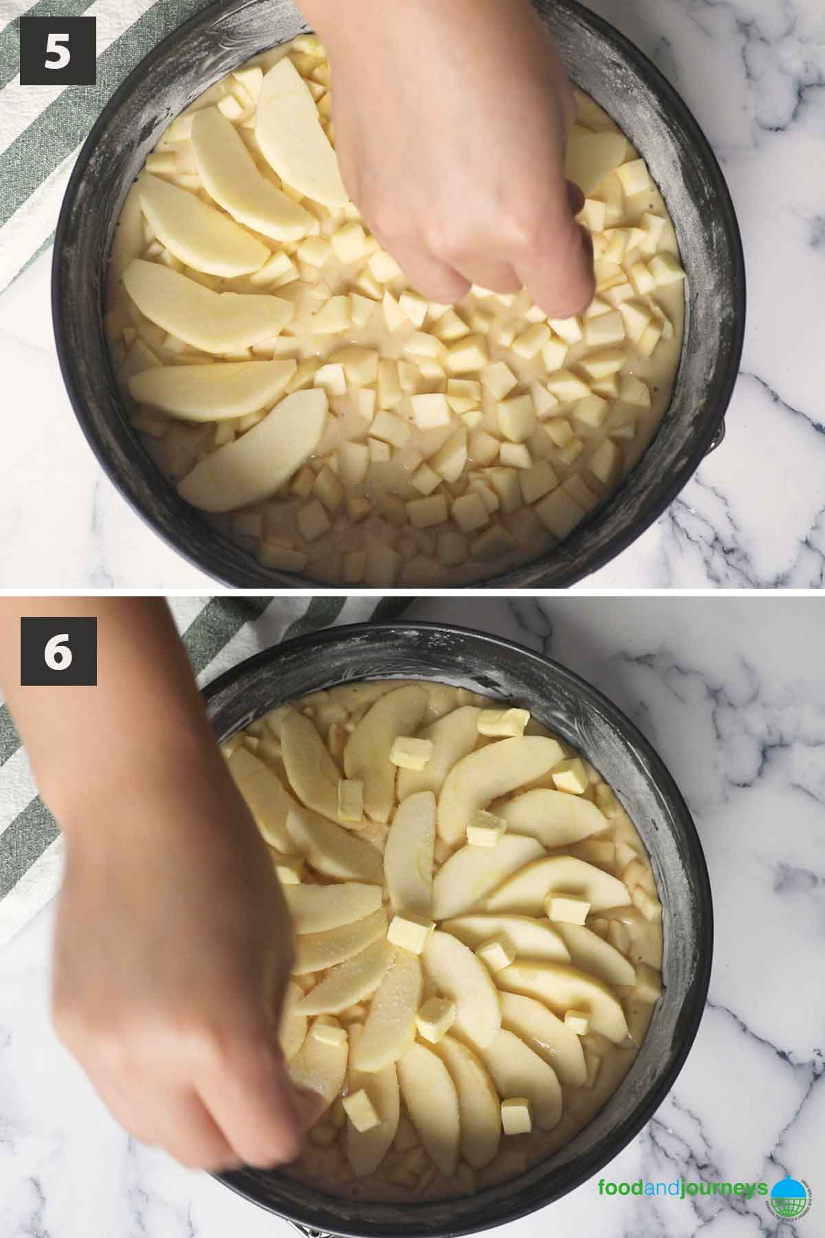 Updated second part of a collage of images showing the step by step process on how to make Tuscan apple cake.