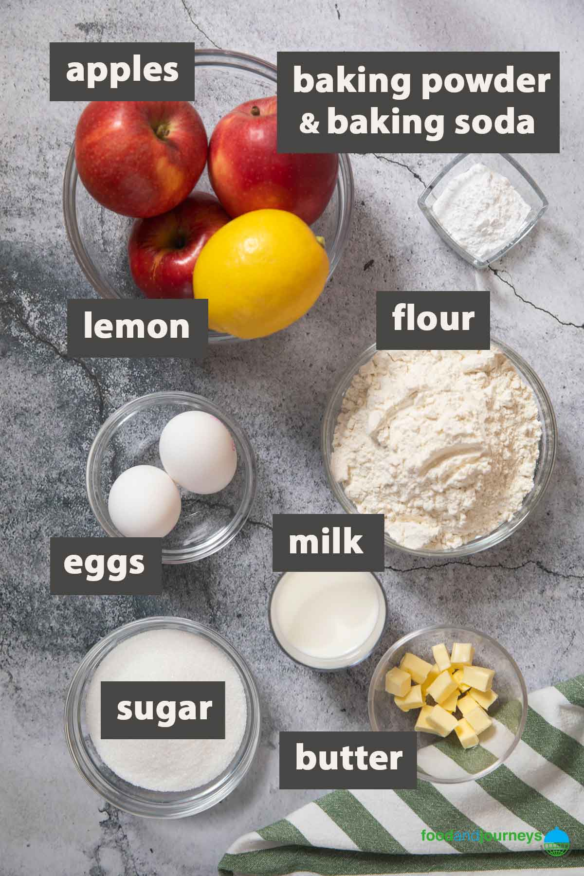 Updated image showing all the ingredients you need to make Torta di Mele at home.