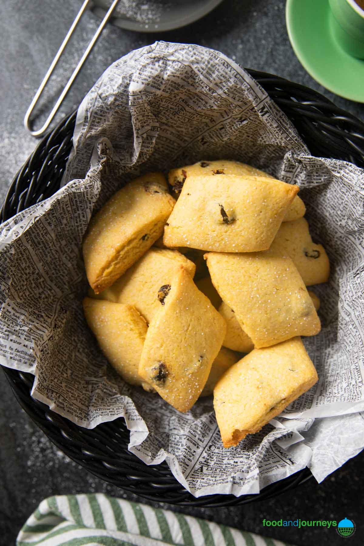 An overhead shot of aa basket of Venetian Cornmeal Cookies, ready for serving.