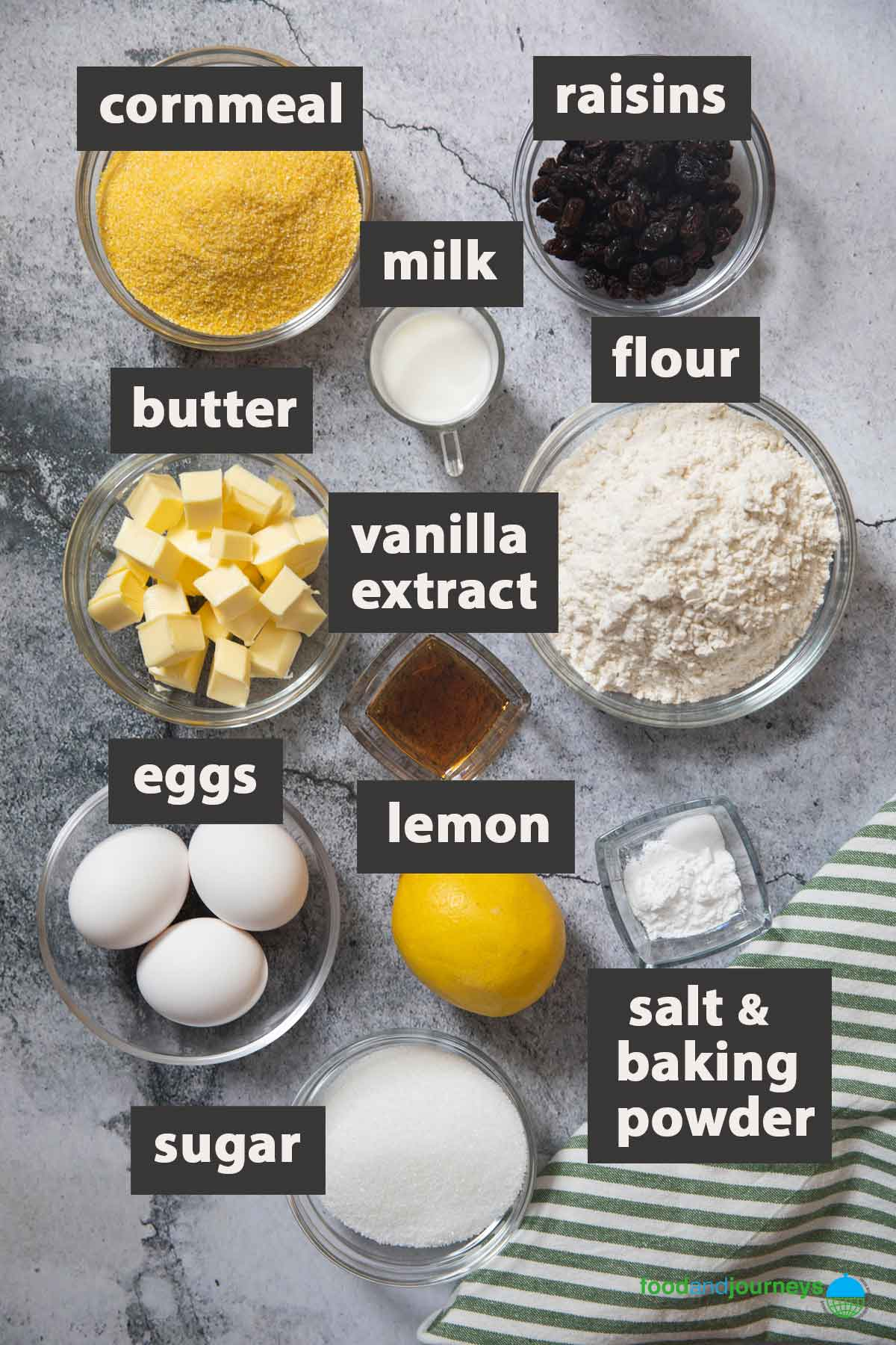 An image showing all the ingredients you need to make zaleti at home.