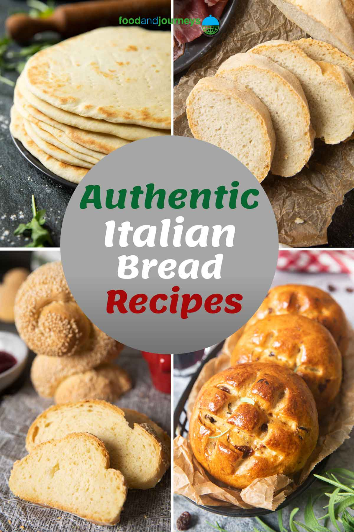 An image showing a collage of traditional Italian breads that you can make at home.