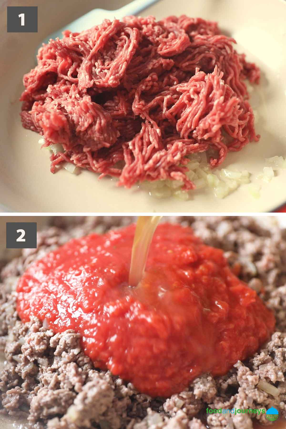First part of a collage of images showing the step by step process on how to make beef picadillo at home.