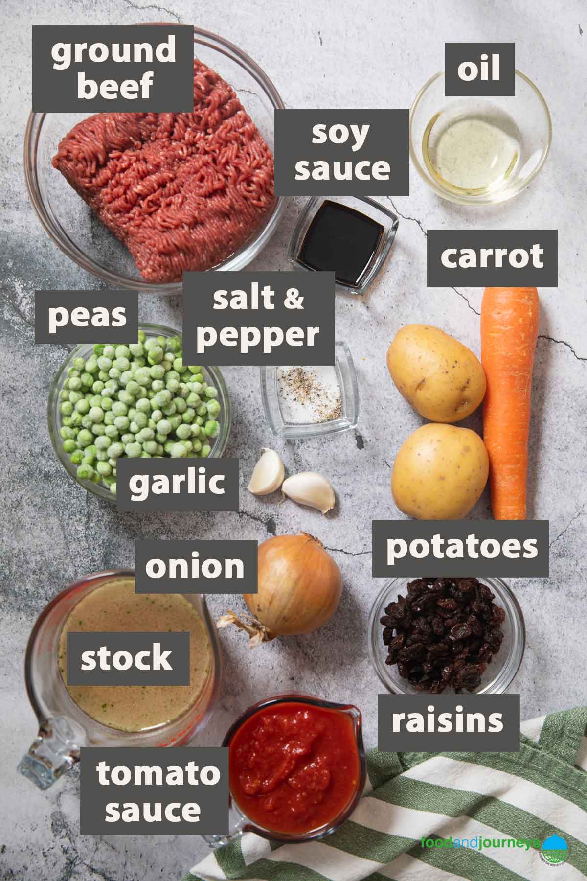 An image showing all the ingredients you need to prepare Filipino picadillo at home.