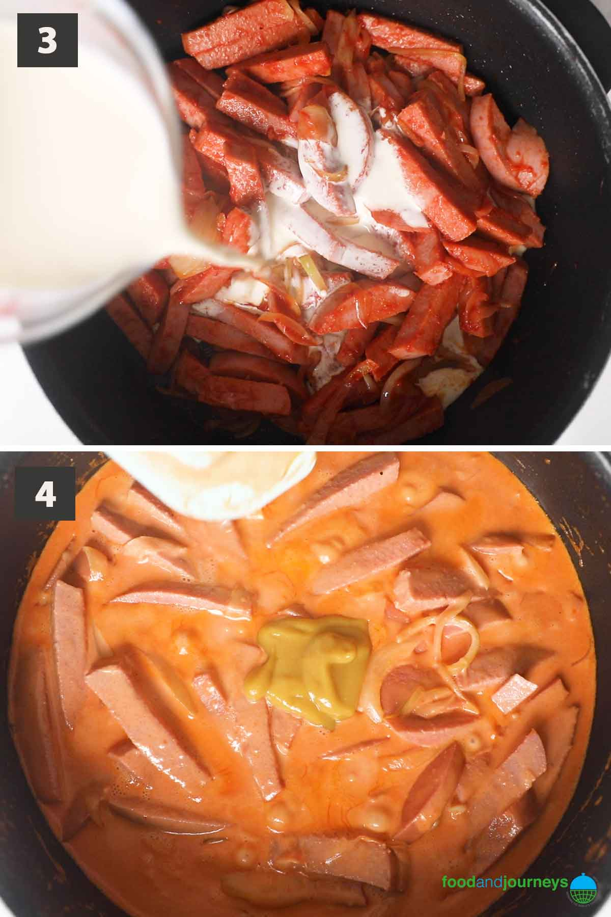 Second part of a collage of images showing the step by step process of making Swedish sausage stroganoff at home.