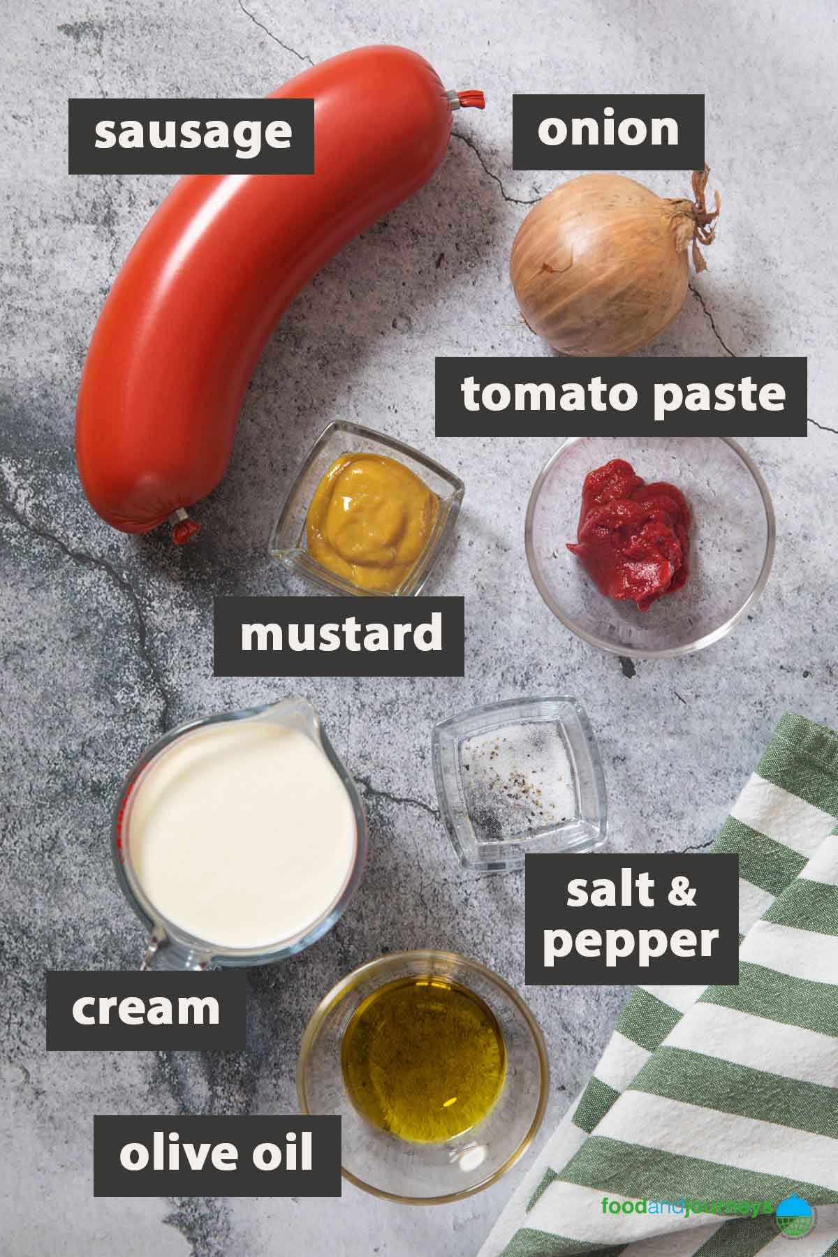 An image showing all the ingredients you need for making sausage stroganoff at home.