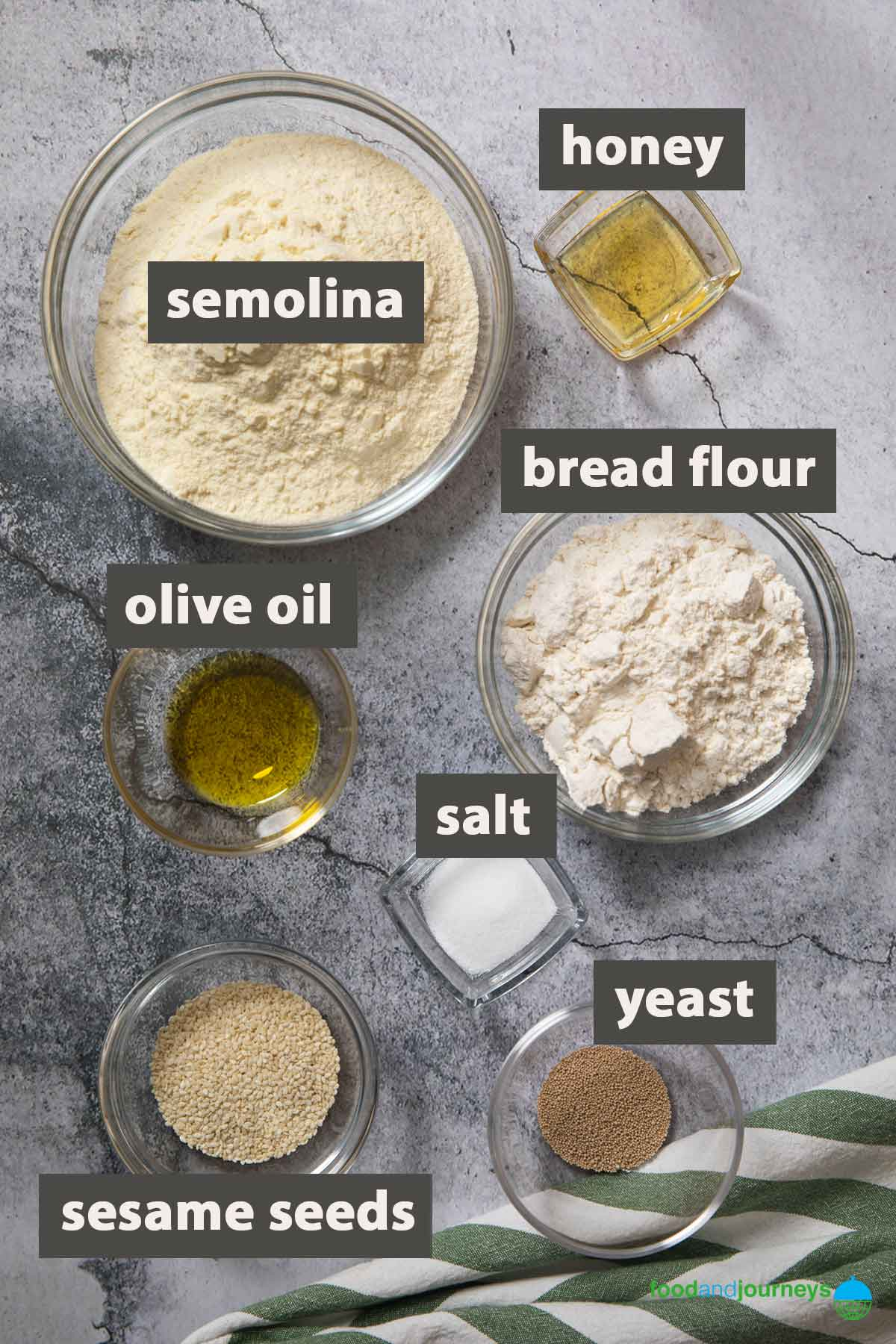An image showing all the ingredients you need to prepare pane Siciliano at home.