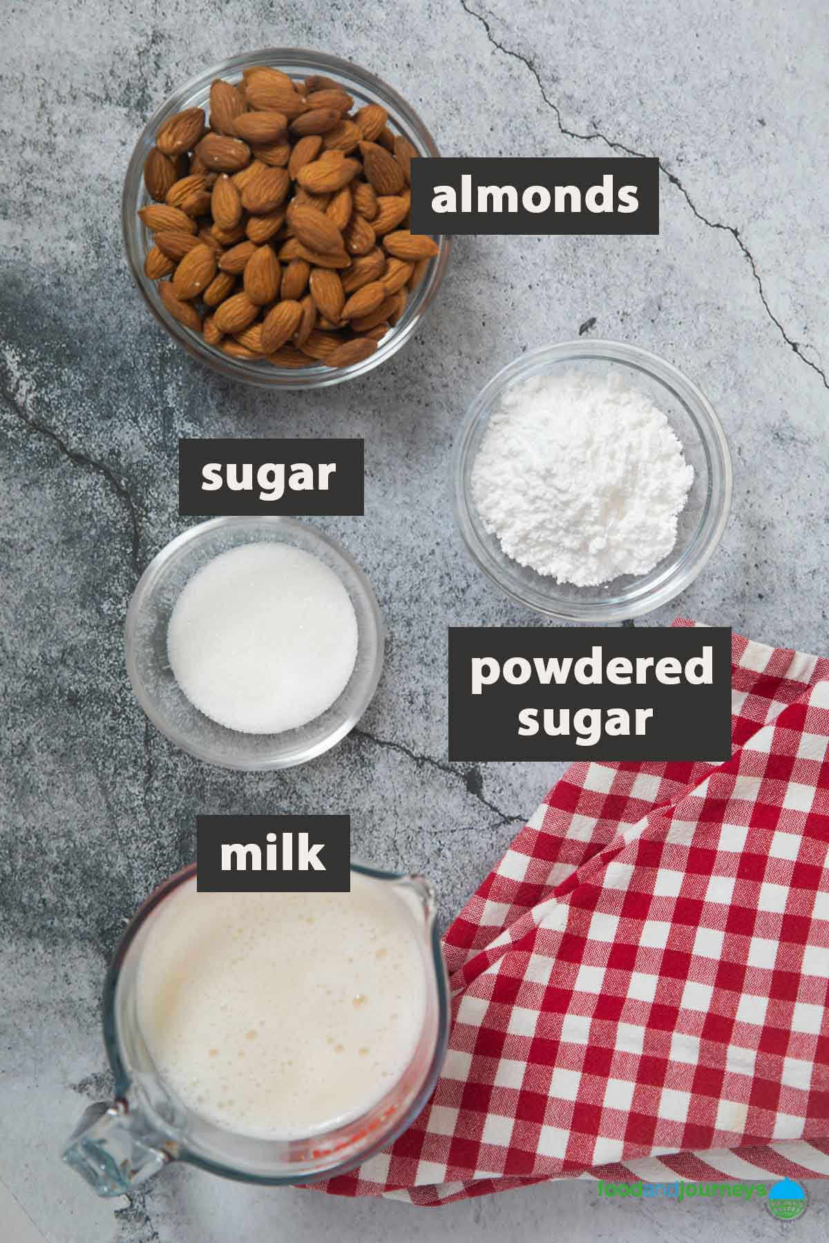 An image showing all the ingredients you need to prepare Sicilian almond granita at home.