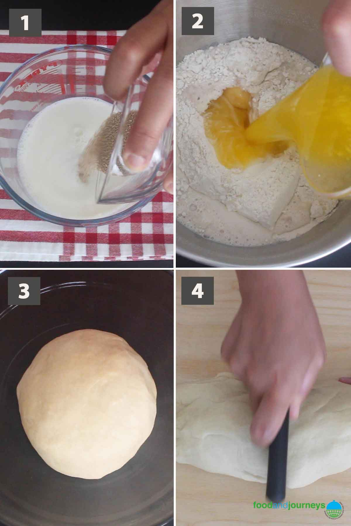 May2021 Updated first part of a collage of images showing the step by step process of making Sicilian brioche.