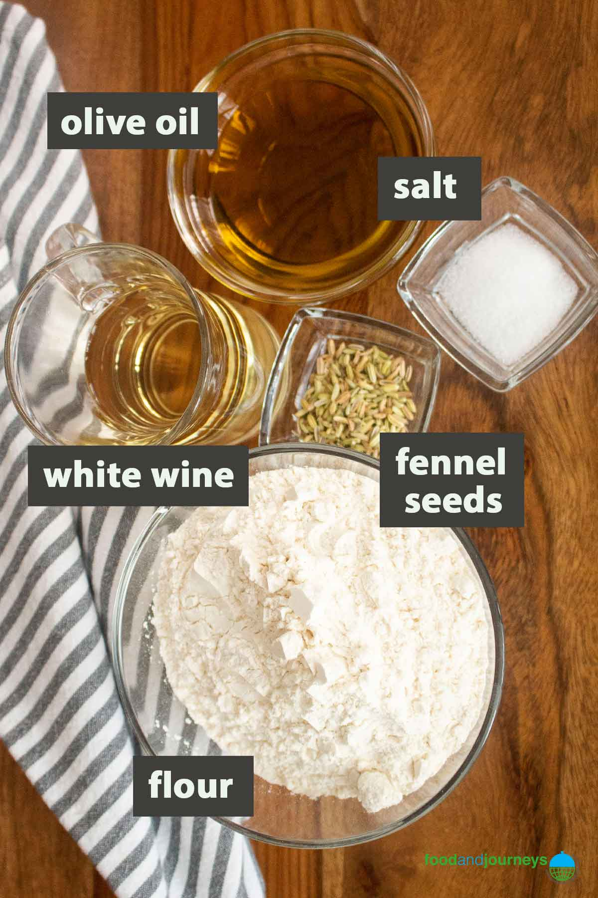 An image showing all the ingredients you need to prepare Taralli Pugliese at home.