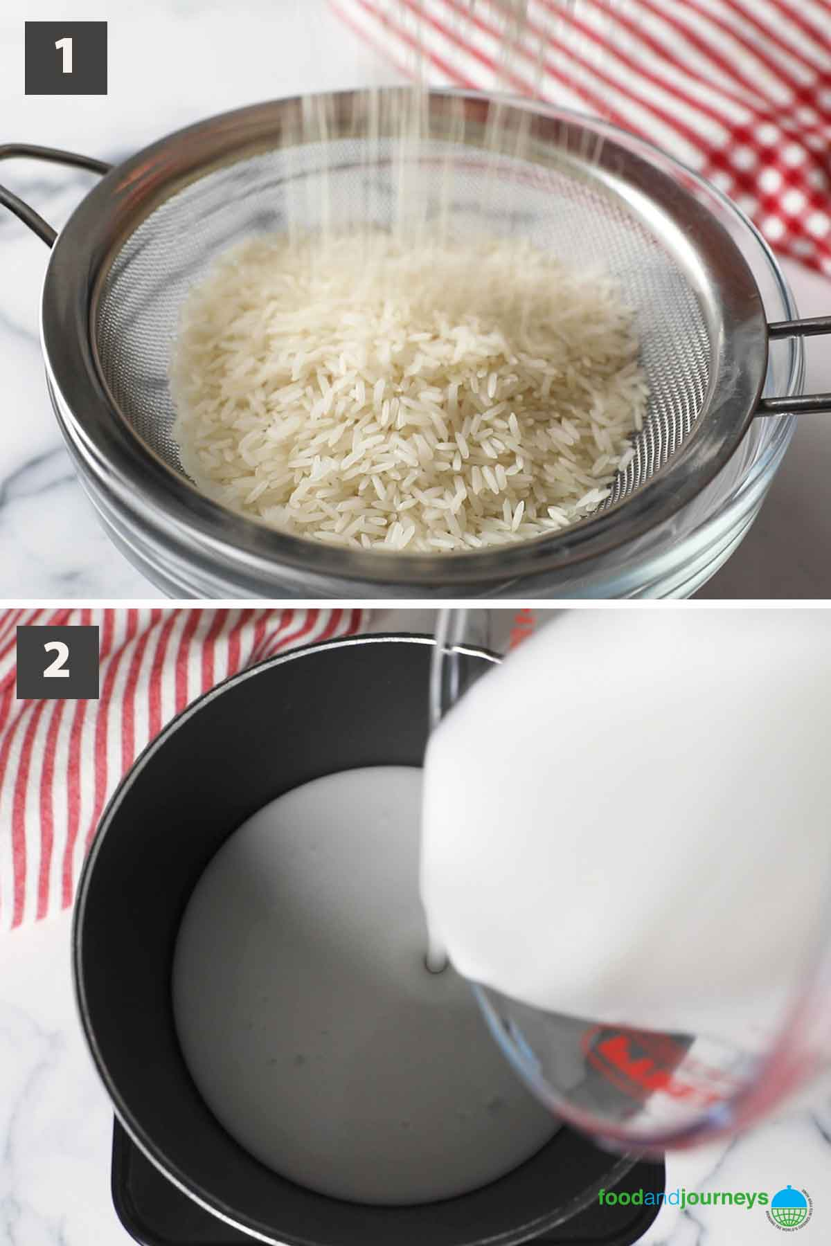 First part of a collage of images showing the step by step process on how to prepare Thai coconut rice.