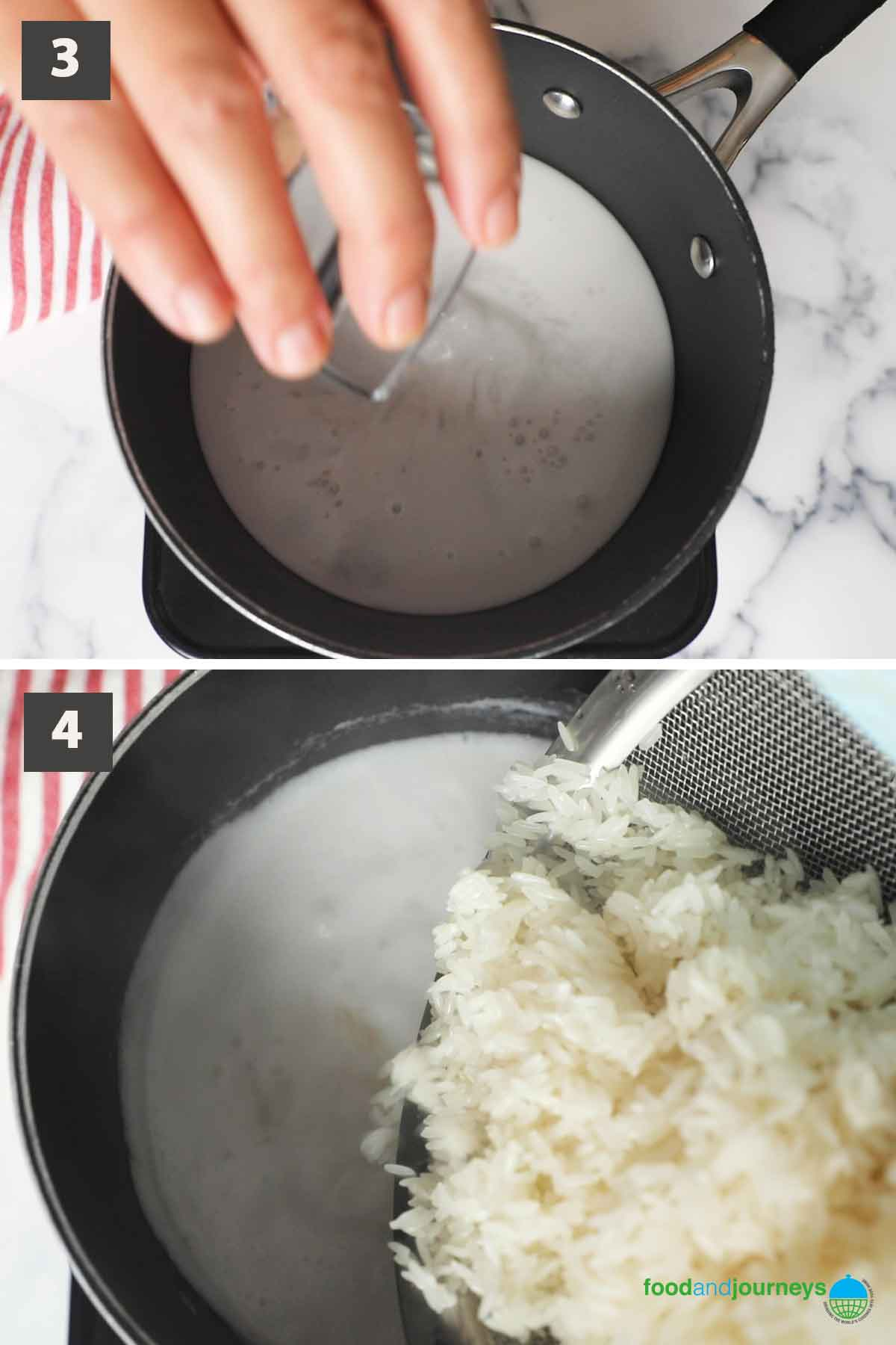 Second part of a collage of images showing the step by step process of preparing coconut jasmine rice at home.