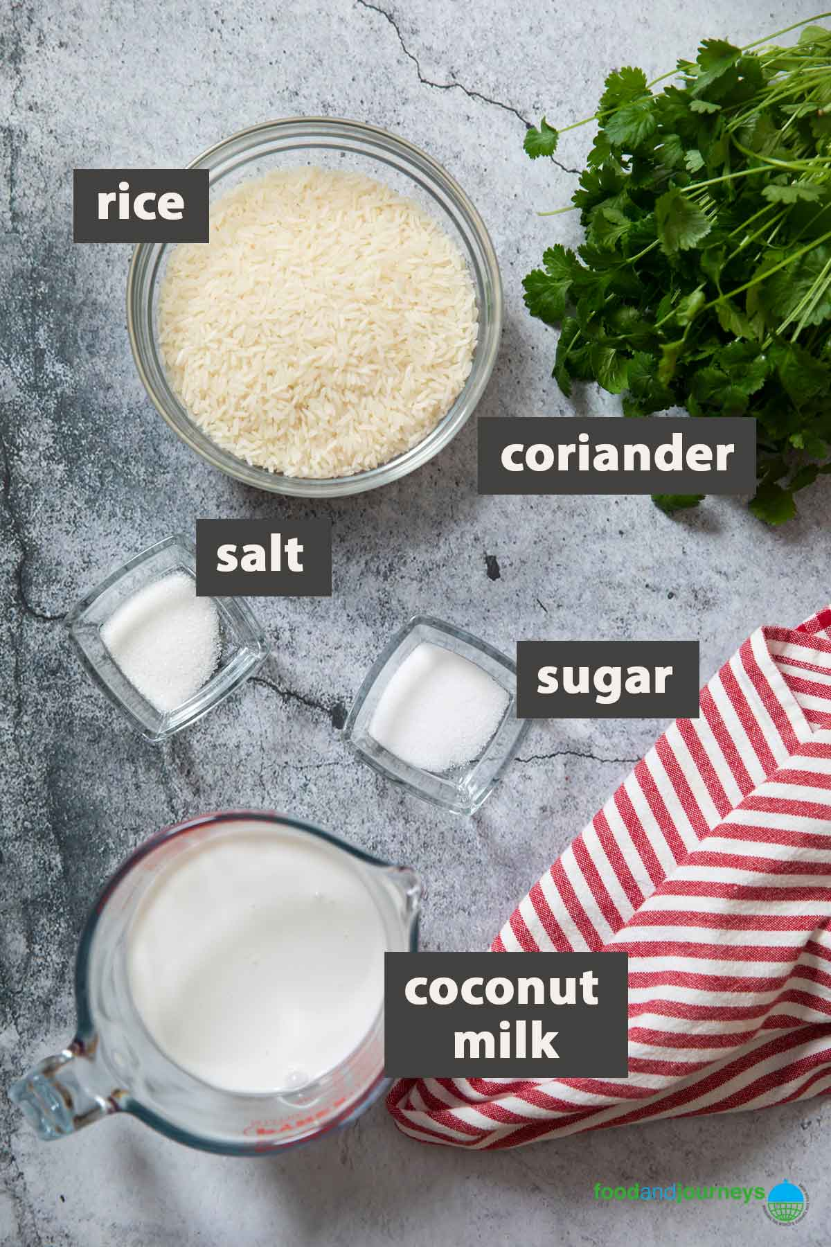 An image showing all the ingredients you need to prepare fluffy coconut rice at home.