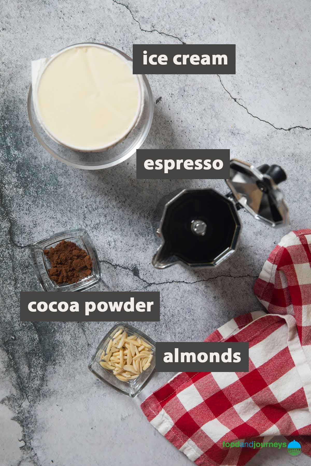 An image showing all the ingredients you need for preparing affogato at home.