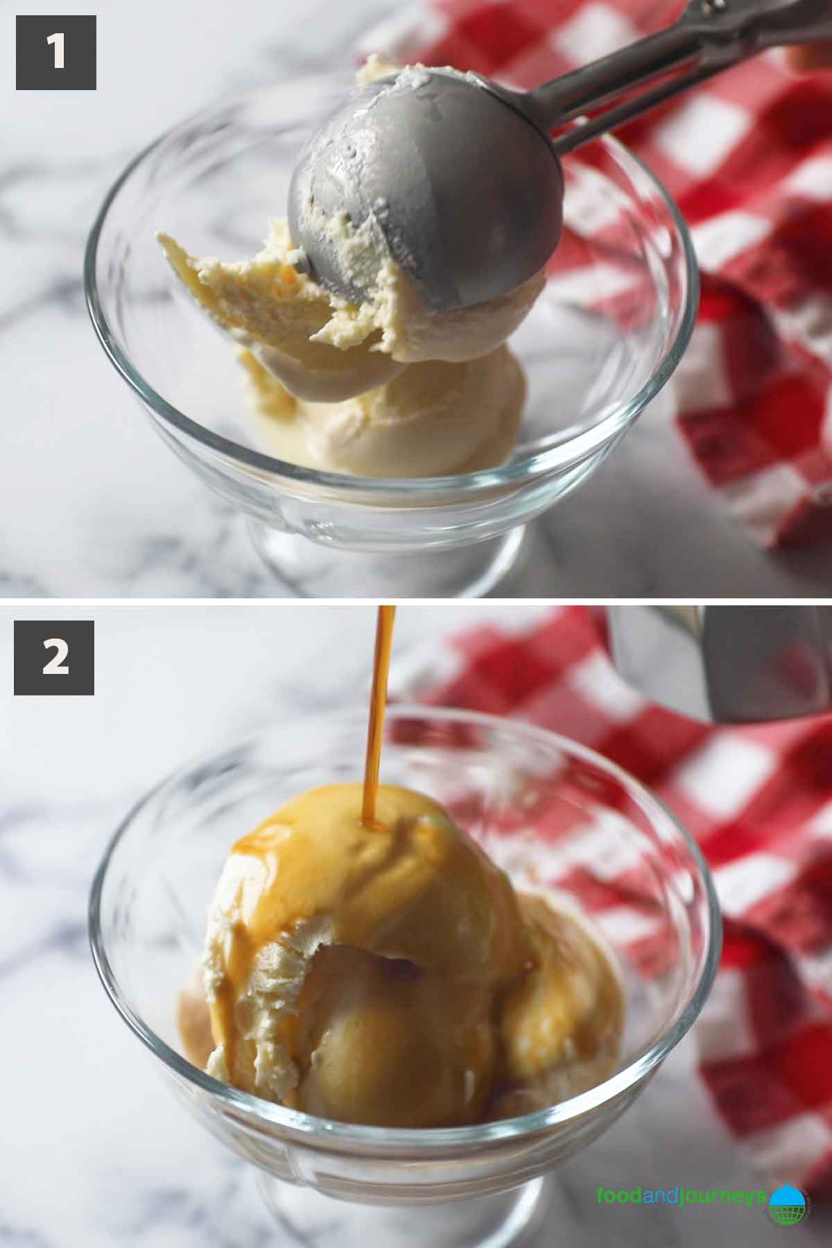 First part of a collage of images showing the step by step process of preparing affogato at home.