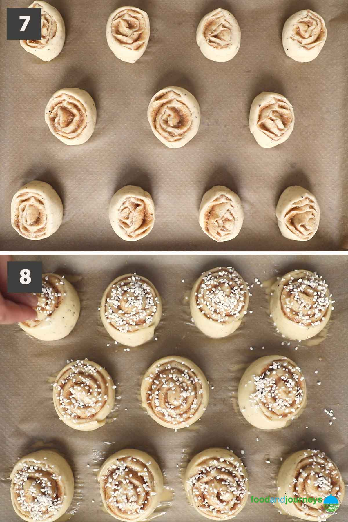 Last part of the updated collage of images showing the step by step process of making kanelbullar at home.