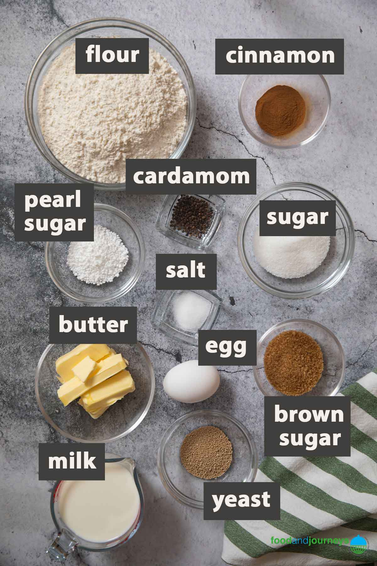 An image showing all the ingredients you need to make kanelbullar at home.