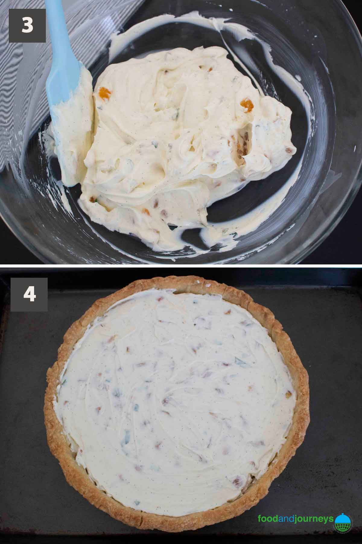 Latest second part of a collage of images showing the step by step process of making Mascarpone & Apricot Tart at home.