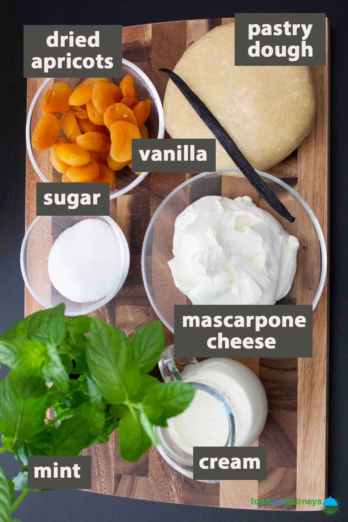 Latest image showing all the ingredients you need to prepare mascarpone & dried apricot tart.