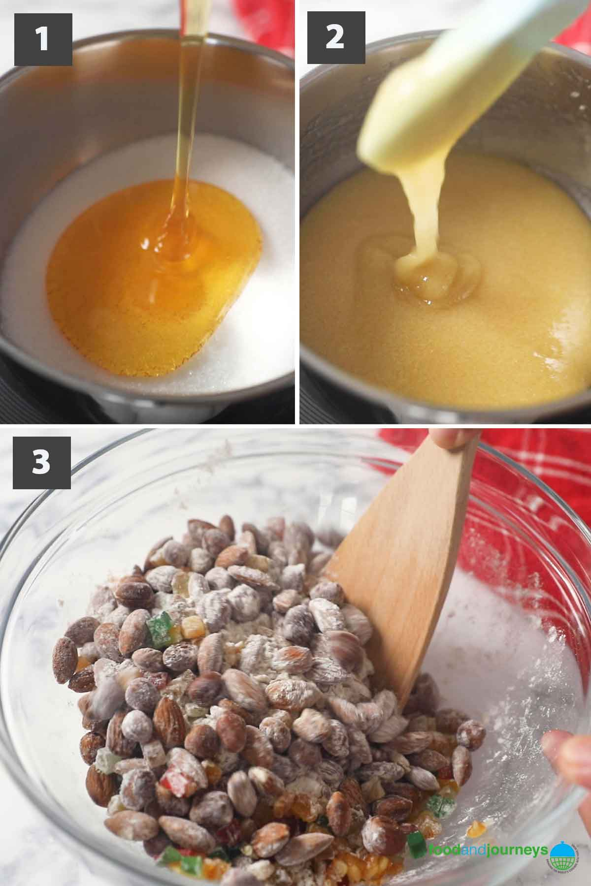 Jun2021 Latest first part of a collage of images showing the step by step process on how to make panforte.