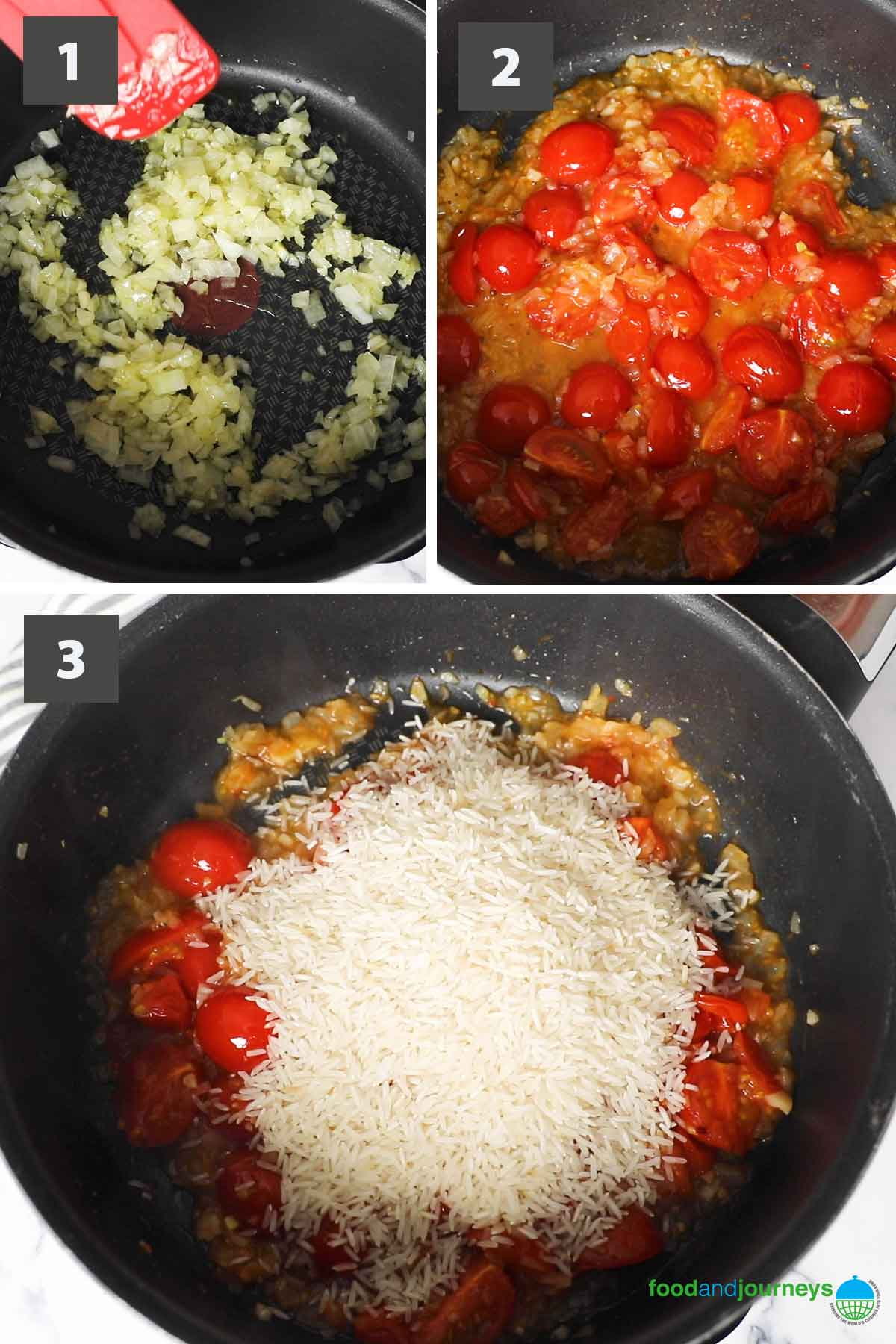 Jun2021, latest first part of a collage of images showing the step by step process of making arroz de tomate at home.