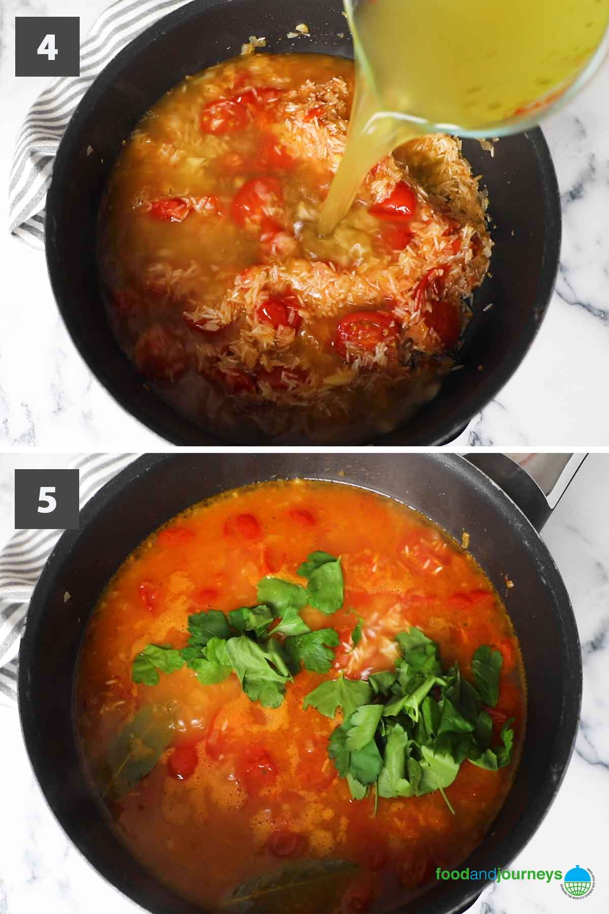 Jun2021, latest second part of a collage of images showing the step by step process on how to make tomato rice.