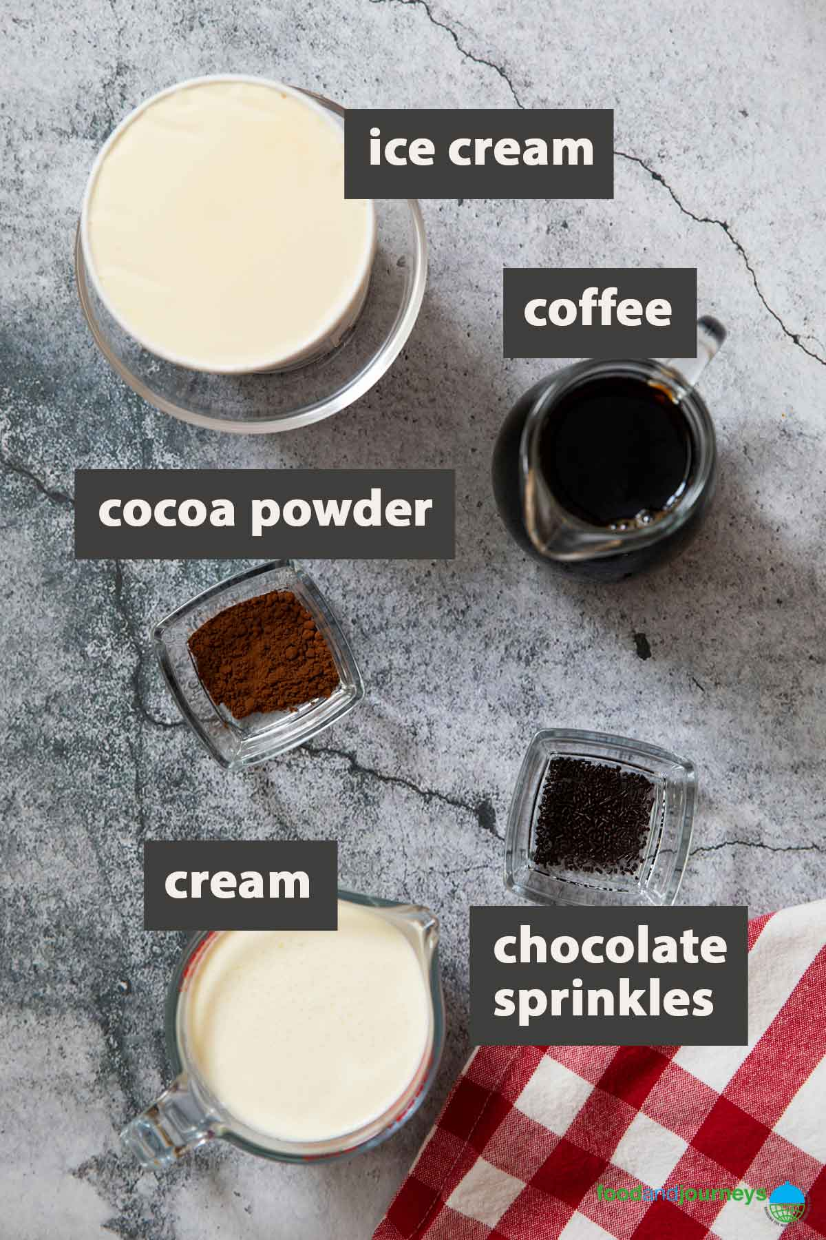 Image showing all the ingredients you need for preparing German Iced Coffee at home.
