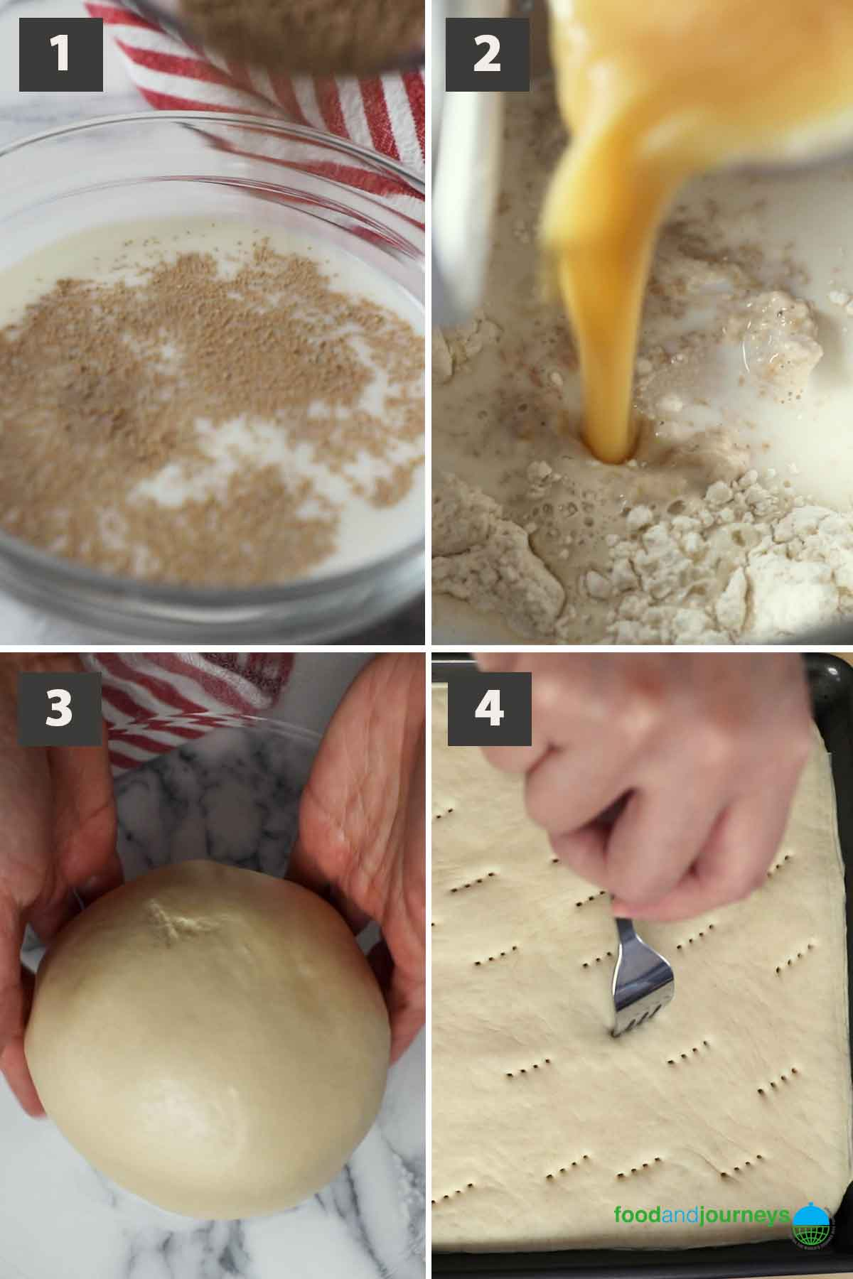 Latest - Jul2021, First part of a collage of images showing the step by step process of making German Butter Cake at home.
