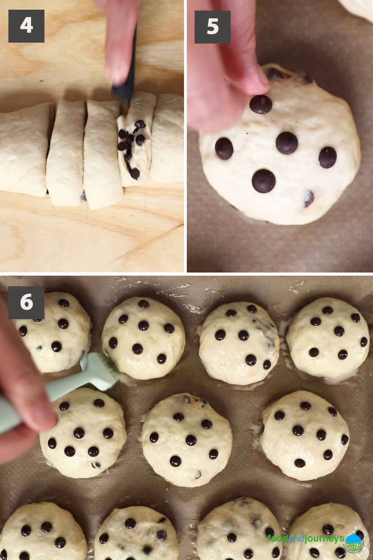 Second part of a collage of images showing the step by step process of making German chocolate buns.