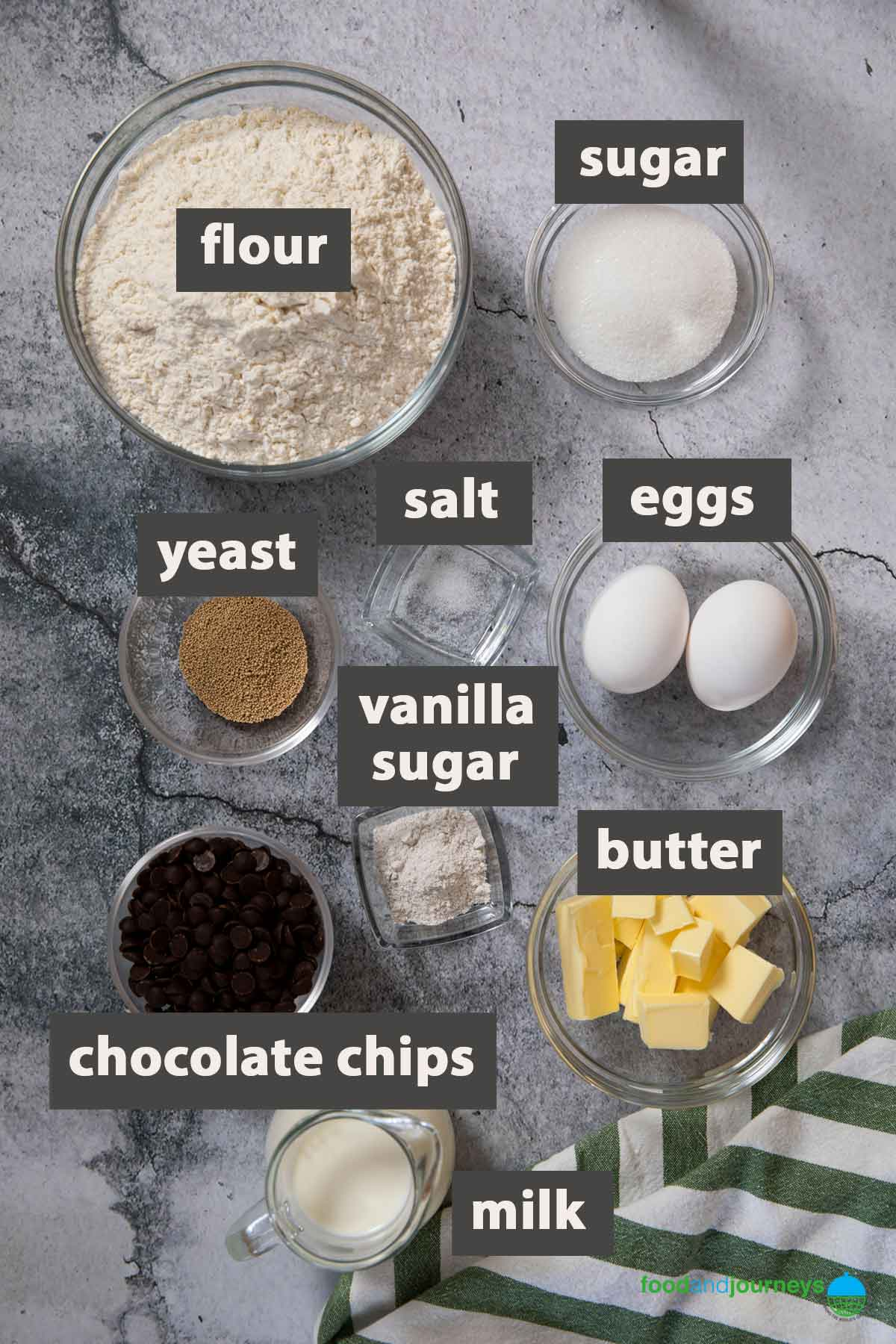 All the ingredients you need to prepare chocolate chip rolls at home.