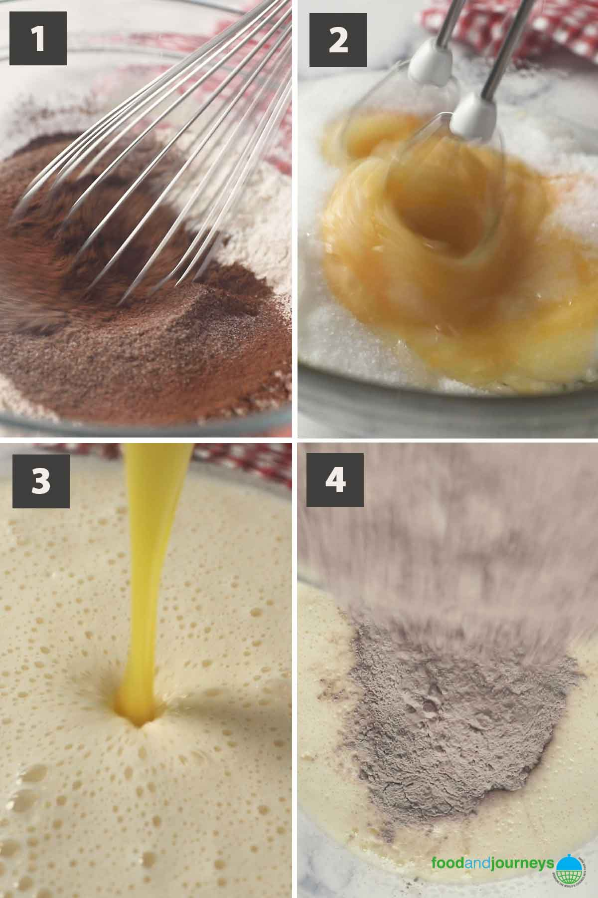First part of a collage of images showing the step by step process of making Swedish Chocolate Coconut Cake at home.