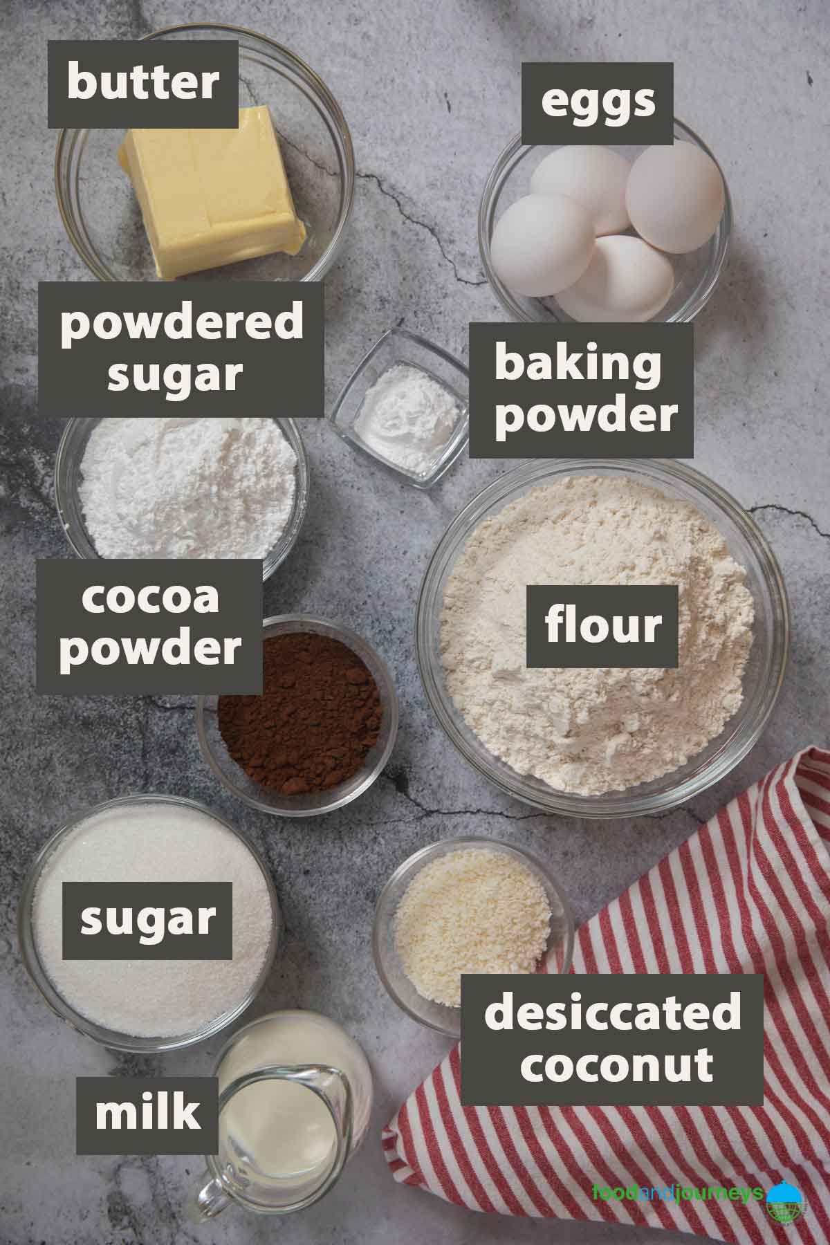 An image showing all the ingredients you need to prepare Kärleksmums.