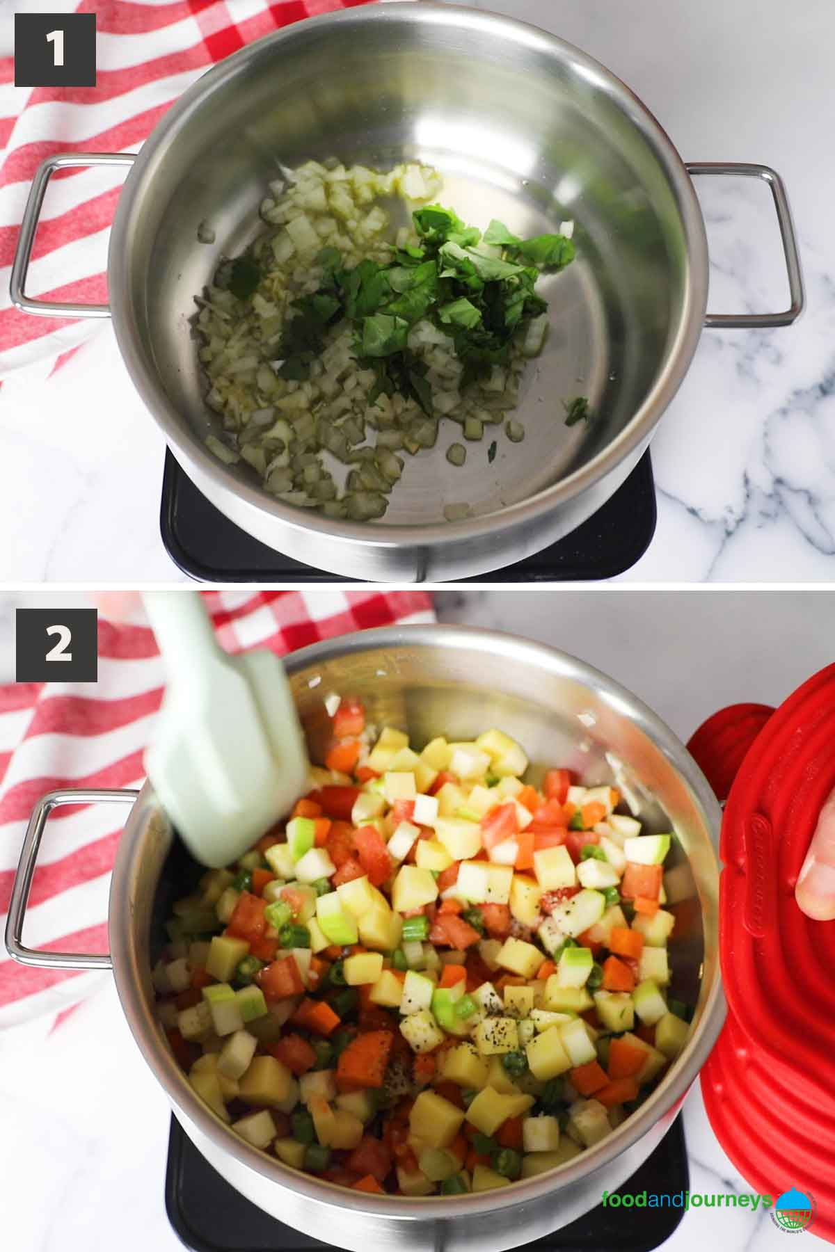 Updated first part of a collage of images showing the step by step process of making minestrone alla milanese.