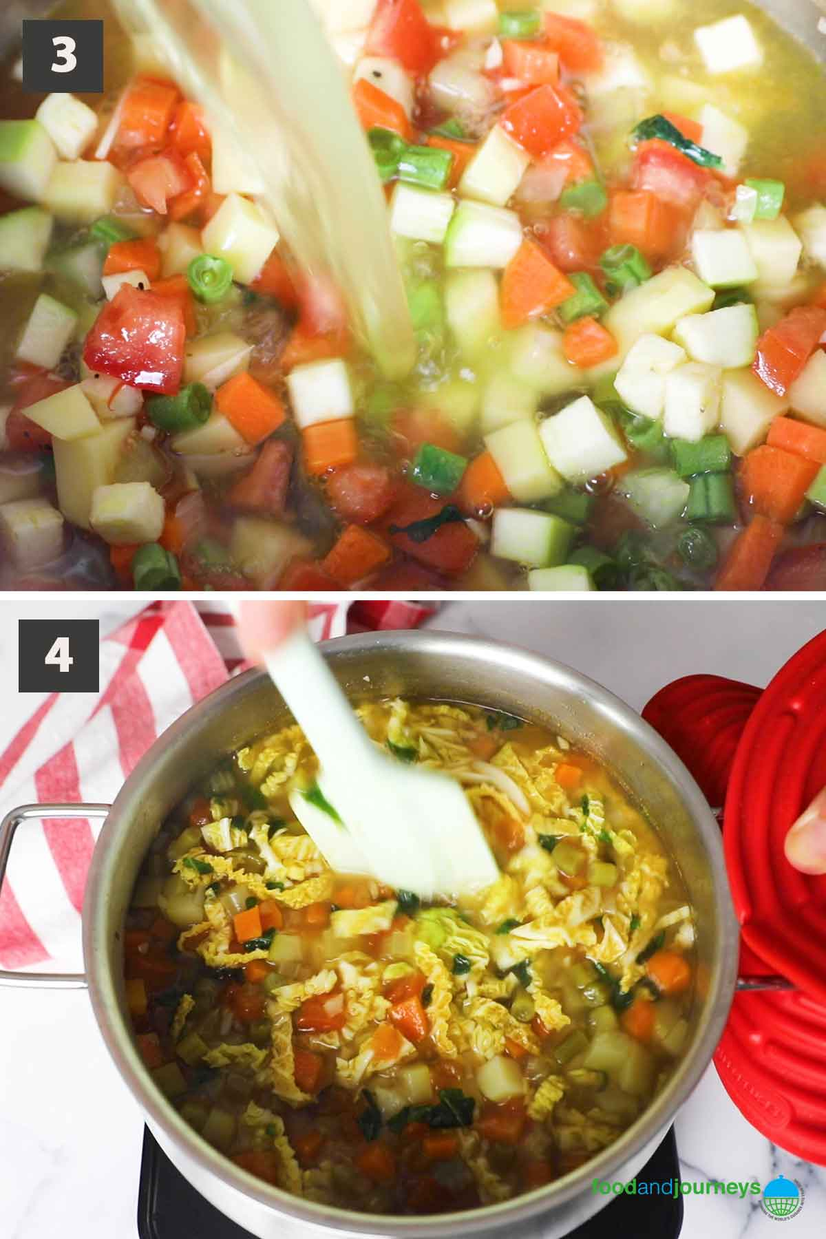 Updated second part of a collage of images showing the step by step process of making summer minestrone at home.