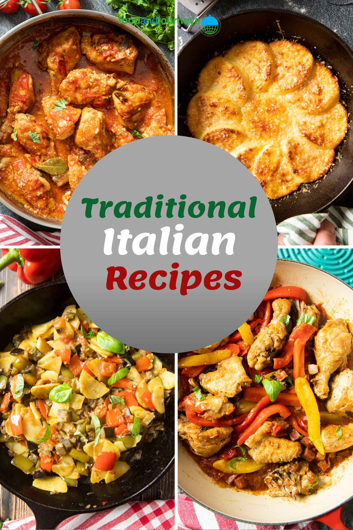 Cover for Traditional Italian Regional Recipes, showing a collage of savory regional dishes.