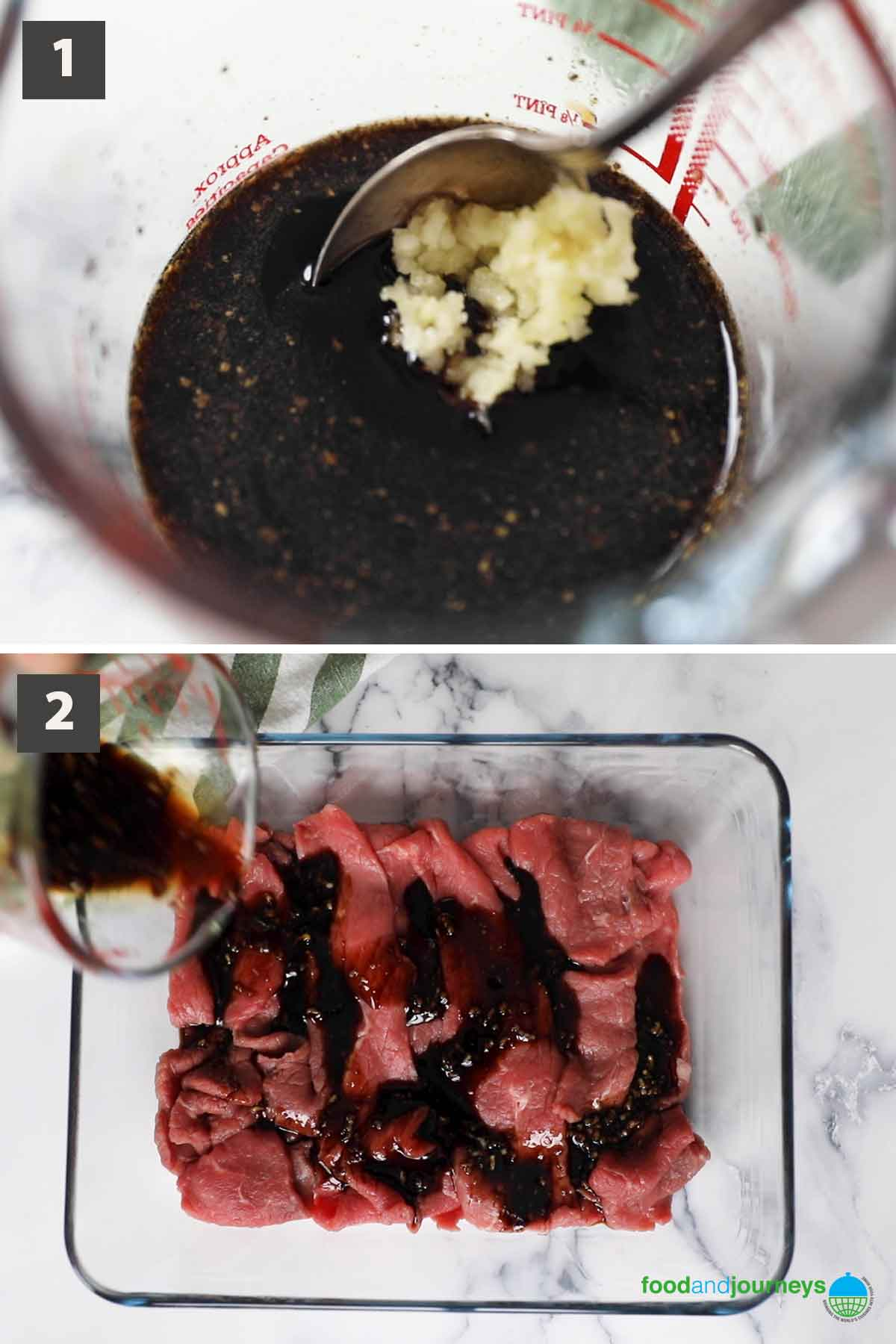 First part of a collage of images showing how to prepare tapa marinade.