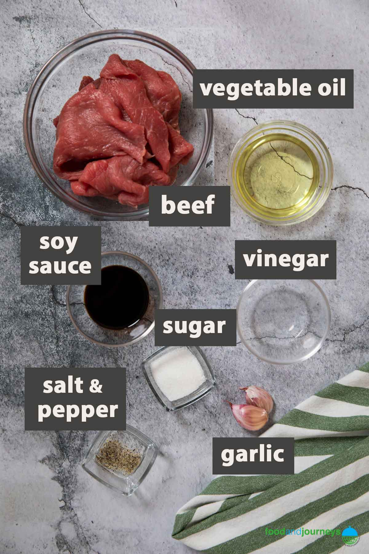 All the ingredients you need to prepare beef tapa at home.
